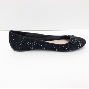 Nine West 9.5 Black Suede Leather Ballet Flats